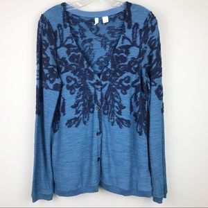Moth Button Up Front Cardigan Blue Floral Medium